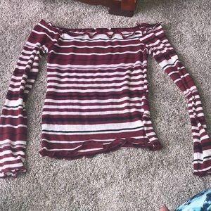 Tops - Striped crop top ruffles sleeves